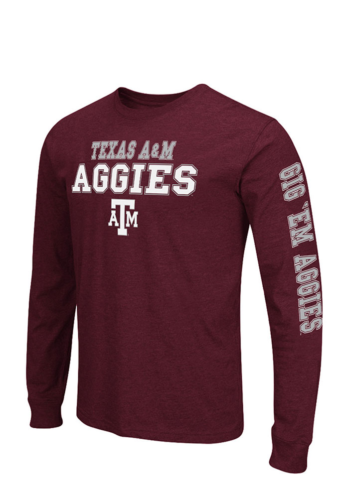 Colosseum Texas A&M Aggies Mens Maroon Game Changer Big and Tall Long Sleeve T-Shirt - Image 1