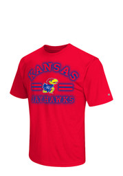 Colosseum KU Jayhawks Mens Red Big Haze T-Shirt