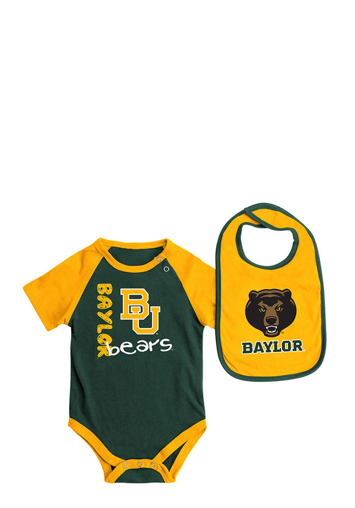 Colosseum Baylor Bears Baby Green Rookie Set Creeper with Bib - Image 1
