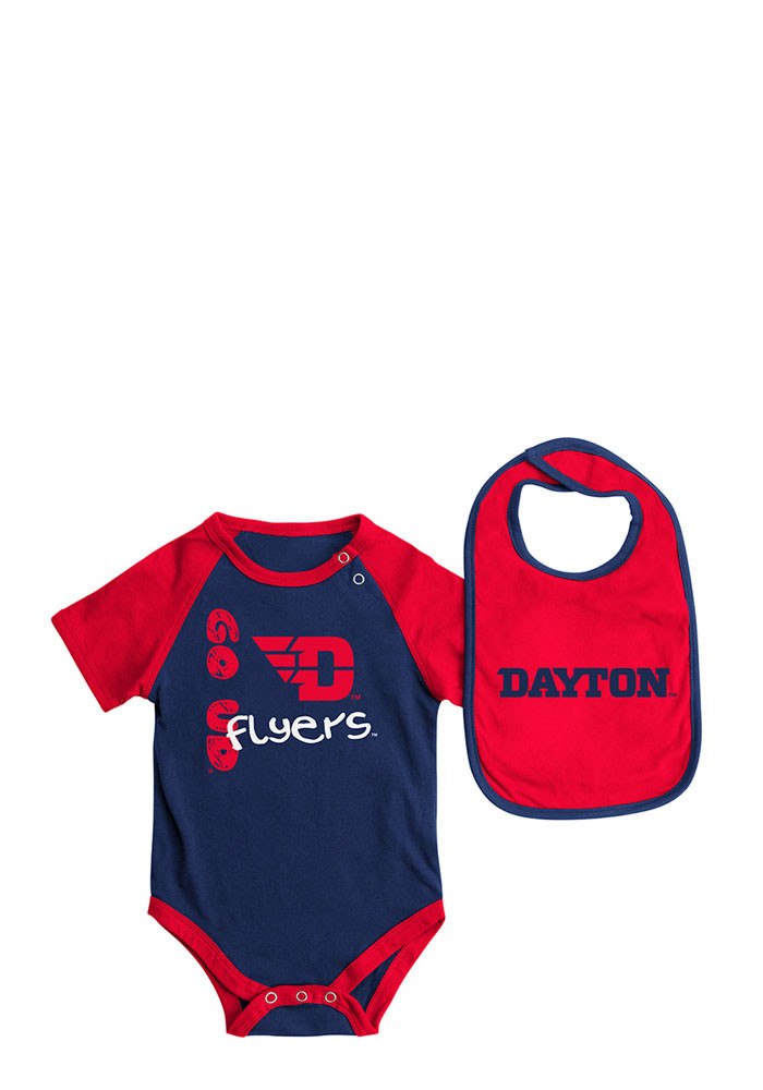 Colosseum Dayton Flyers Baby Navy Blue Rookie Set Creeper with Bib - Image 1