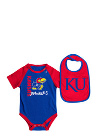 Colosseum Kansas Jayhawks Baby Blue Rookie One Piece with Bib