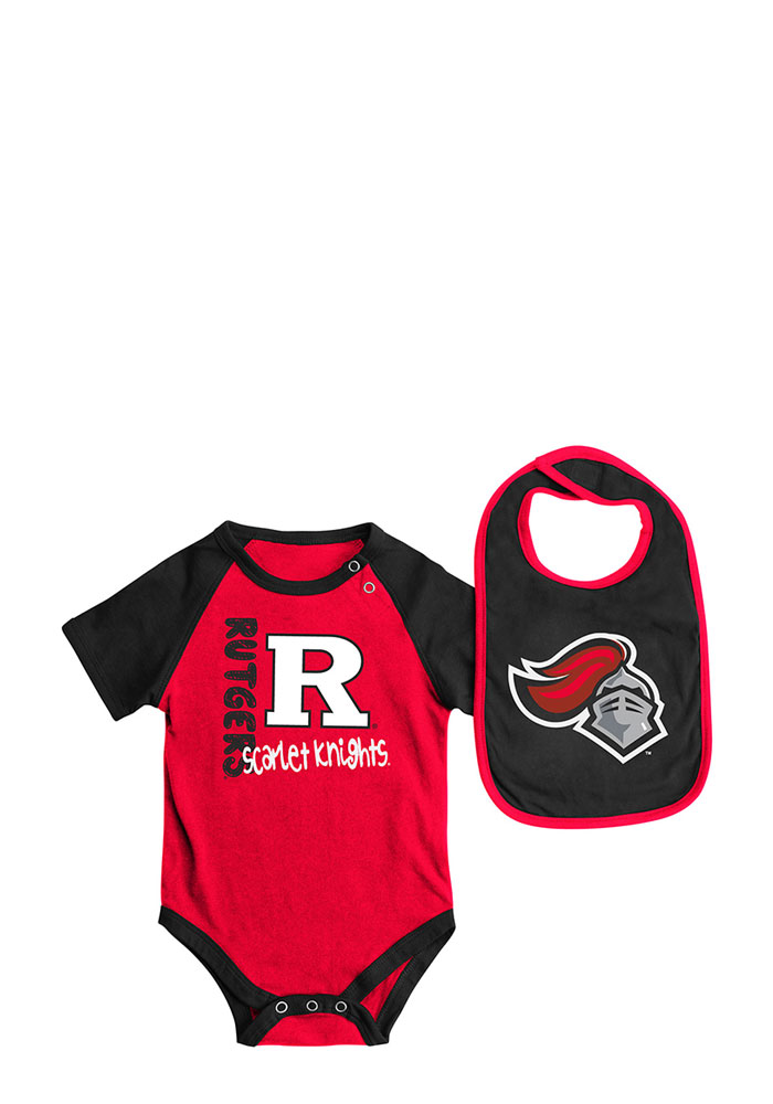 Colosseum Rutgers Scarlet Knights Baby Red Rookie Set One Piece with Bib - Image 1