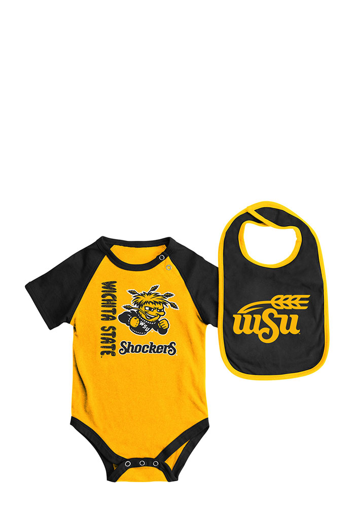 Colosseum Wichita State Shockers Baby Gold Rookie Set Creeper with Bib - Image 1