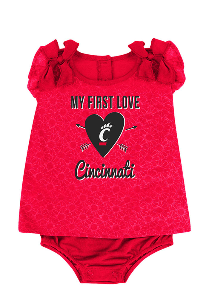 Colosseum Cincinnati Bearcats Baby Red My First Love Short Sleeve One Piece - Image 1