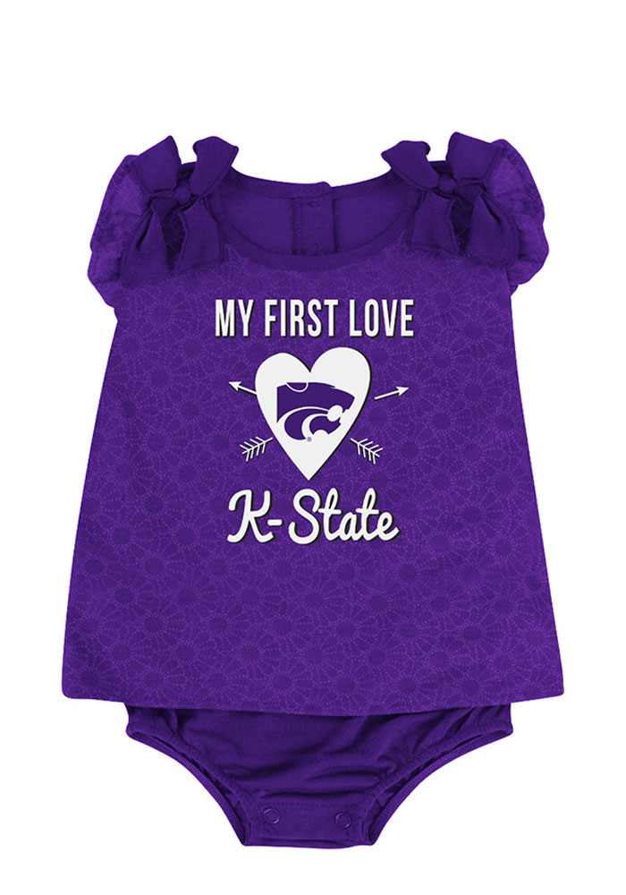 Colosseum K-State Wildcats Baby Purple My First Love Short Sleeve Creeper - Image 1