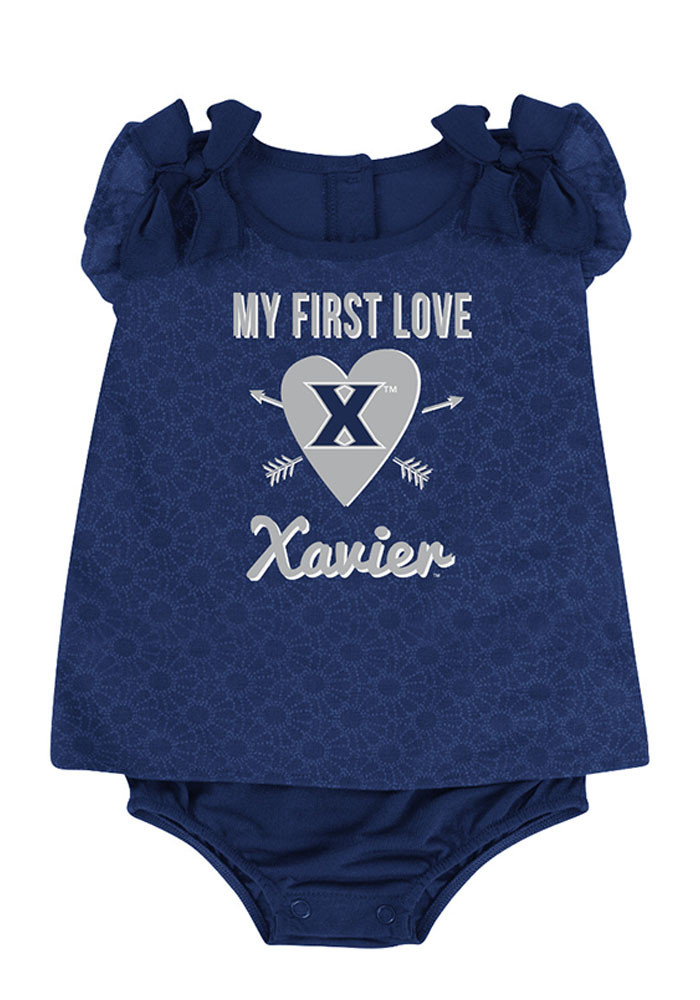 Colosseum Xavier Musketeers Baby Navy Blue My First Love Short Sleeve Creeper - Image 1
