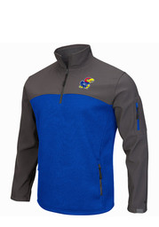 Colosseum KU Jayhawks Mens Blue Plow IV 1/4 Zip Performance Pullover