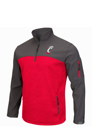 Colosseum Cincinnati Mens Red Plow IV 1/4 Zip Performance Pullover