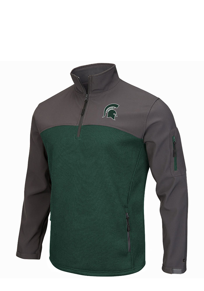 Colosseum Michigan State Spartans Mens Green Plow IV Long Sleeve 1/4 Zip Pullover - Image 1