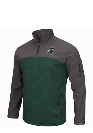 Colosseum MSU Mens Green Plow IV 1/4 Zip Performance Pullover