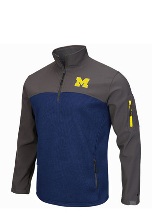 Colosseum Michigan Mens Navy Blue Plow IV 1/4 Zip Performance Pullover