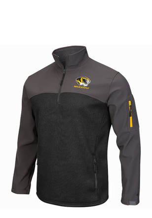 Colosseum Missouri Tigers Mens Black Plow IV 1/4 Zip Pullover