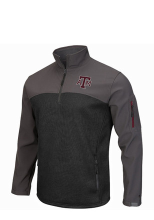 Colosseum Texas A&M Mens Grey Plow IV 1/4 Zip Performance Pullover