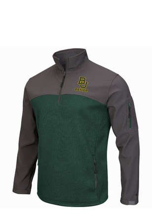 Colosseum Baylor Mens Green Plow IV 1/4 Zip Performance Pullover