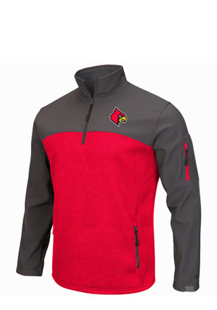 Colosseum Louisville Cardinals Mens Red Plow IV 1/4 Zip Pullover