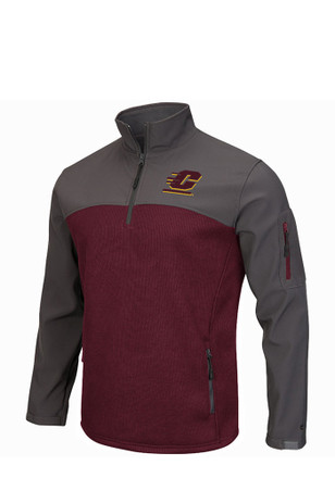 Colosseum Central Michigan Chippewas Mens Maroon Plow IV 1/4 Zip Pullover
