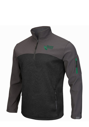 Colosseum UNT Mens Green Plow IV 1/4 Zip Performance Pullover