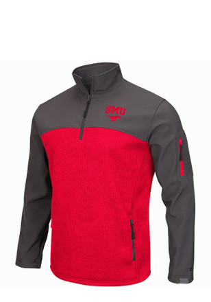 Colosseum Mustangs Mens Red Plow IV 1/4 Zip Performance Pullover