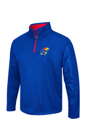 Colosseum KU Jayhawks Mens Blue Sleet Embossed 1/4 Zip Performance Pullover