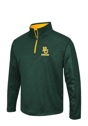 Colosseum Baylor Mens Green Sleet Embossed 1/4 Zip Performance Pullover