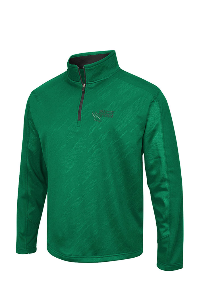 Colosseum North Texas Mean Green Mens Green Sleet Embossed Long Sleeve 1/4 Zip Pullover - Image 1