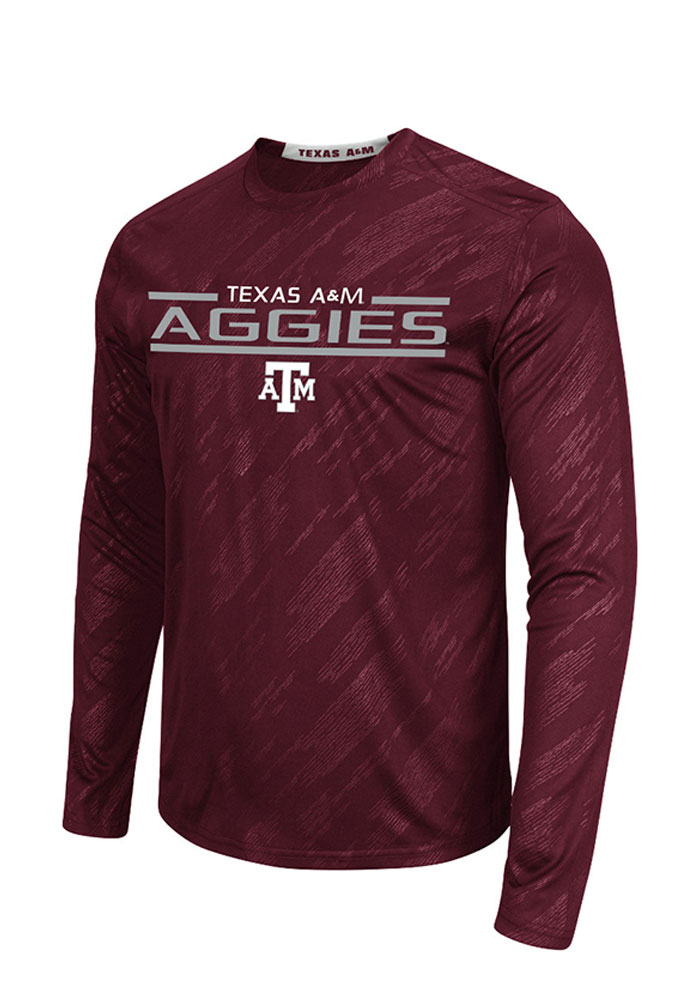 Colosseum Texas A&M Aggies Maroon Sleet Embossed Long Sleeve T-Shirt - Image 1