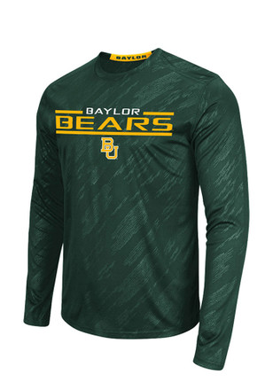 Colosseum Baylor Mens Green Sleet Embossed Performance Tee