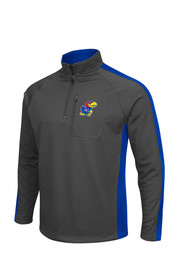 Colosseum KU Jayhawks Mens Grey Defender 1/4 Zip Performance Pullover