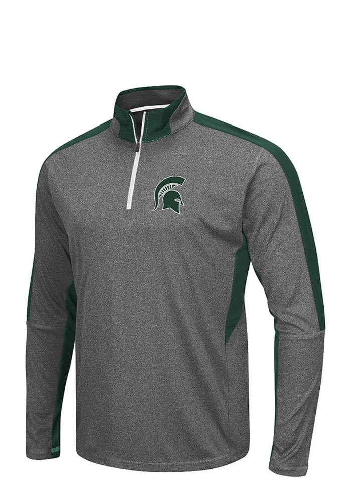 Colosseum Michigan State Spartans Mens Charcoal atlas Long Sleeve 1/4 Zip Pullover - Image 1