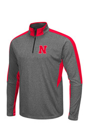 Colosseum Nebraska Mens Grey atlas 1/4 Zip Performance Pullover