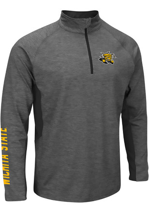 Colosseum WSU Mens Grey Combat 1/4 Zip Performance Pullover