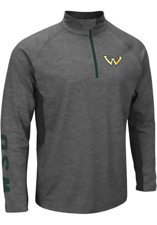 Colosseum Wayne State Warriors Mens Grey Combat 1/4 Zip Performance Pullover