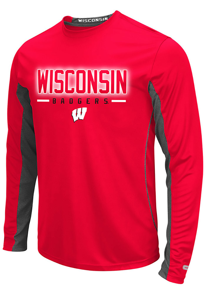 Colosseum Wisconsin Badgers Mens Red Iceman Long Sleeve T