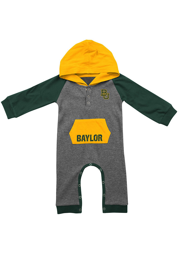 Colosseum Baylor Bears Baby Grey Robin Hood Long Sleeve Creeper - Image 1