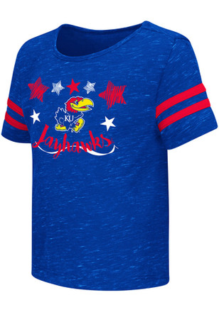Colosseum KU Jayhawks Toddler Girls Blue Janice T-Shirt