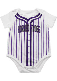 Colosseum TCU Horned Frogs Baby White Fast Ball One Piece