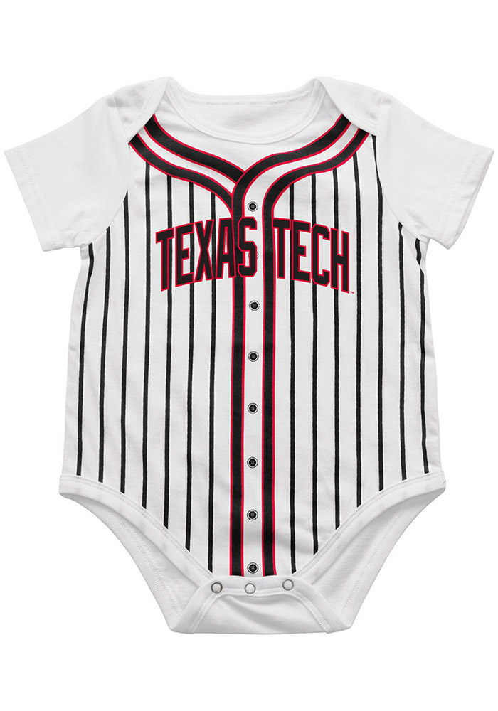 Colosseum Texas Tech Red Raiders Baby White Fast Ball Short Sleeve One Piece - Image 1