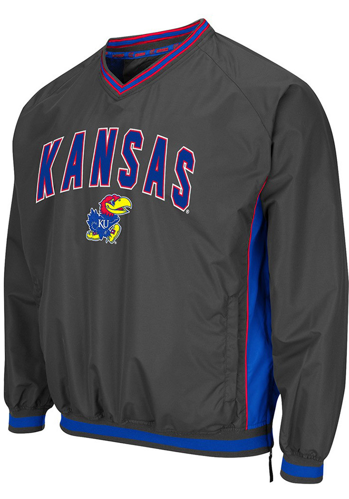 Colosseum Kansas Jayhawks Mens Charcoal Fair Catch Pullover Jackets - Image 1
