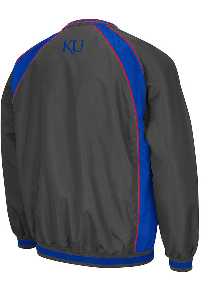 Colosseum Kansas Jayhawks Mens Charcoal Fair Catch Pullover Jackets - Image 2