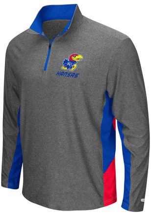 Colosseum KU Jayhawks Mens Grey The Executive 1/4 Zip Performance Pullover