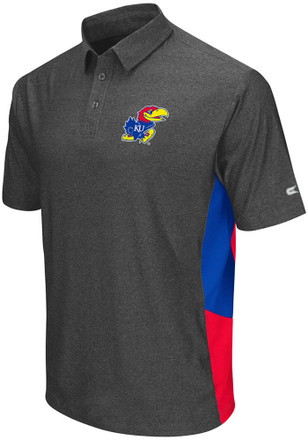 Colosseum Kansas Jayhawks Mens Grey The Bro Short Sleeve Polo Shirt