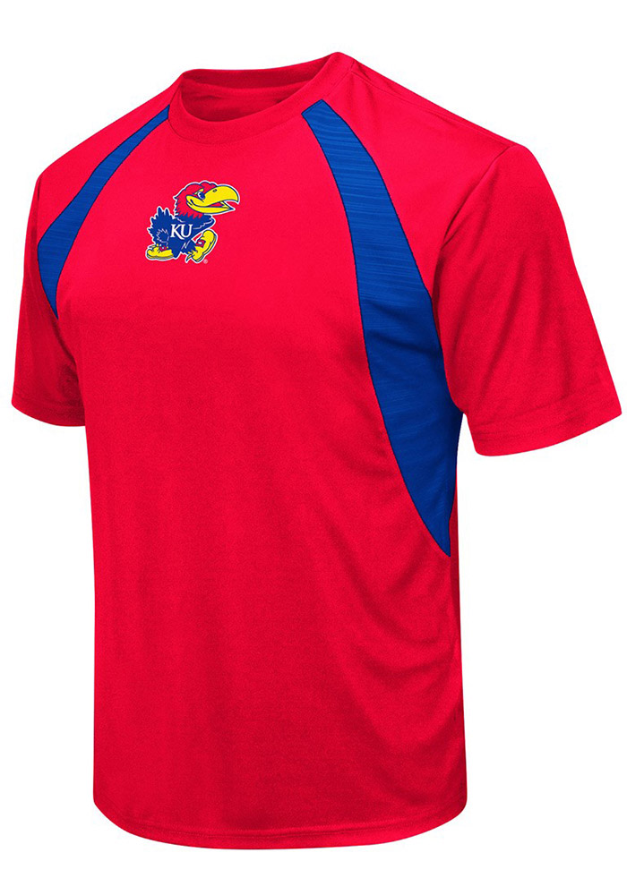 Colosseum Kansas Jayhawks Red In The Vault Cut Sew Short Sleeve T Shirt - Image 1