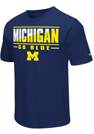 Colosseum Michigan Mens Navy Blue Two Face Performance Tee