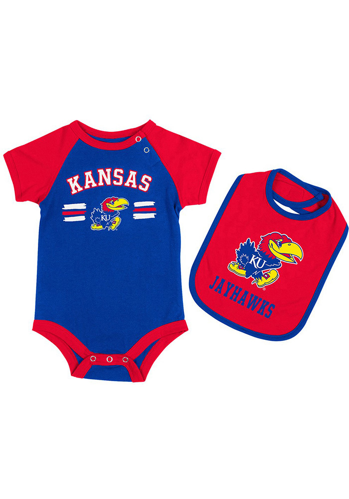 Colosseum Kansas Jayhawks Baby Blue Dribble Set One Piece with Bib - Image 1