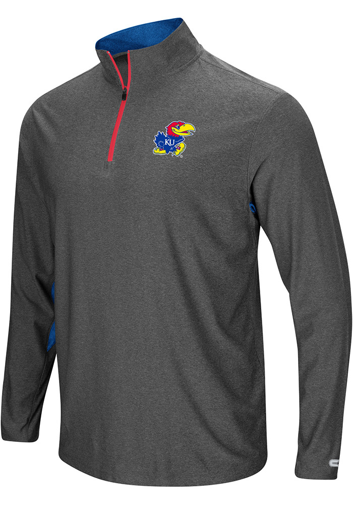 Colosseum Kansas Jayhawks Mens Grey Sweet Spot Long Sleeve 1/4 Zip Pullover - Image 1
