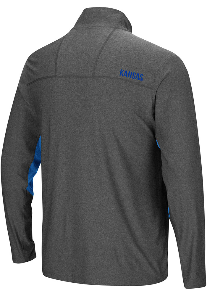 Colosseum Kansas Jayhawks Mens Grey Sweet Spot Long Sleeve 1/4 Zip Pullover - Image 2