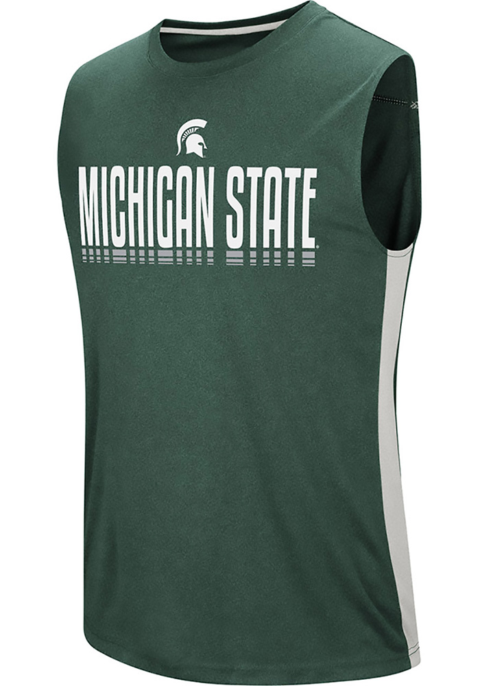 Colosseum Michigan State Spartans Mens Green Hanging Curveball Short Sleeve Tank Top - Image 1
