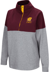 Central Michigan Chippewas Womens Colosseum Breakthrough 1/4 Zip Pullover - Maroon