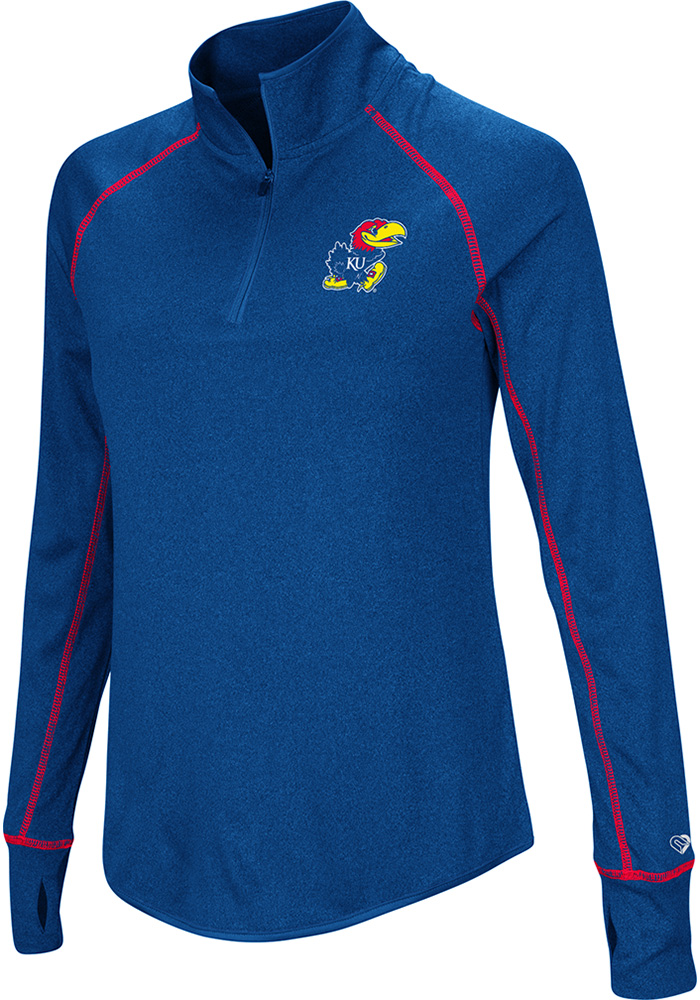 Colosseum KU Jayhawks Womens Blue Kit 1/4 Zip Pullover - Image 1