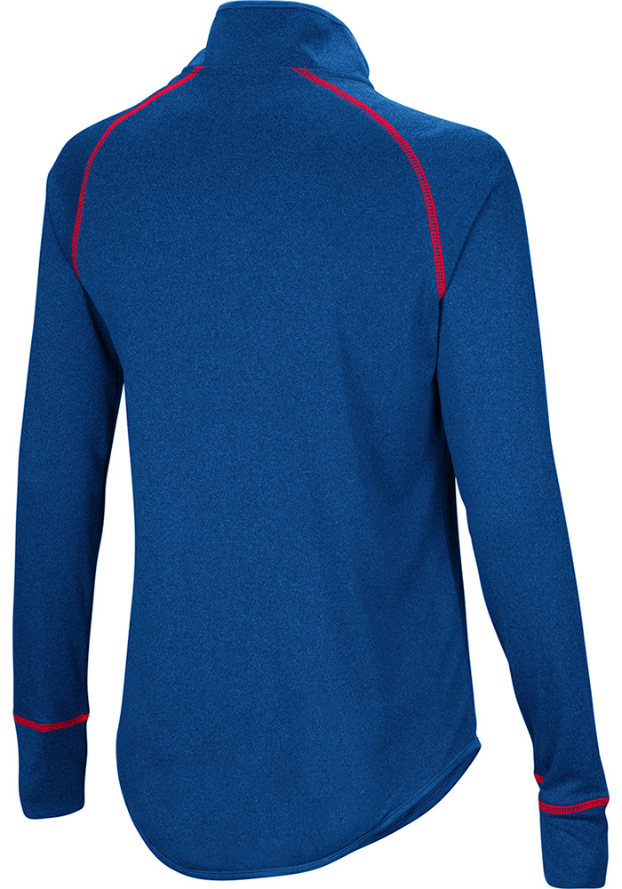 Colosseum KU Jayhawks Womens Blue Kit 1/4 Zip Pullover - Image 2